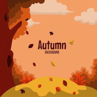 Fond de paysage d'automne avec arbre