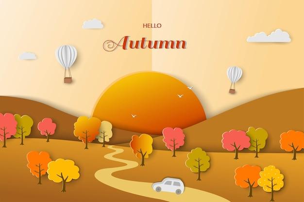Fond de paysage d'automne ou d'automne sur le style d'art du papier avec des arbres colorés et des montgolfières