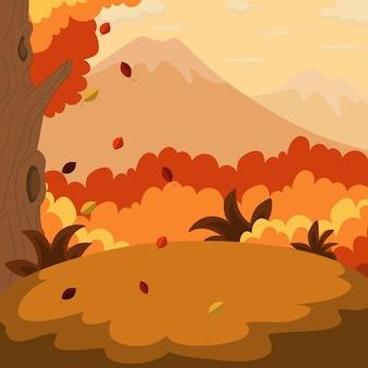 Fond de paysage d'automne avec la montagne