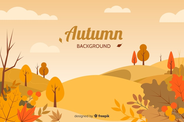 Fond de paysage d'automne plat