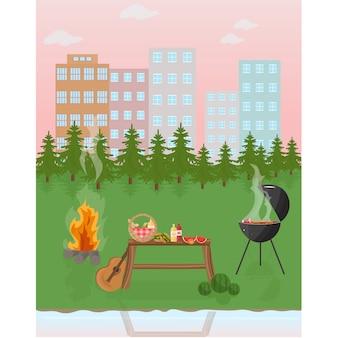 Fond de paysage de barbecue