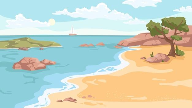 Fond de paysage de bord de mer dans la plage de mer de vecteur de dessin animé plat avec des falaises rocheuses d'arbres verts exotiques
