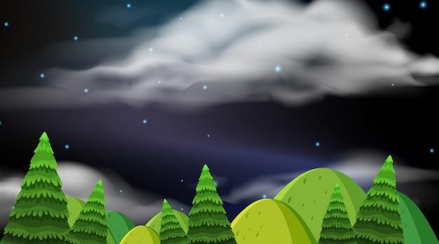 Fond de paysage avec des collines la nuit