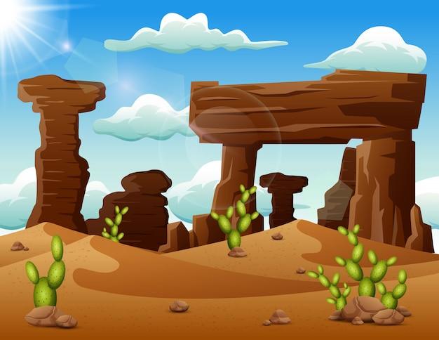 Fond de paysage désertique avec des roches et des cactus