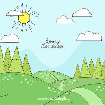 Fond de paysage dessiné à la main