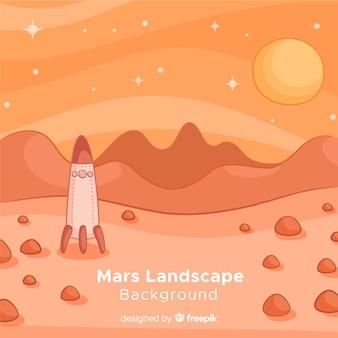 Fond de paysage dessiné mars à la main