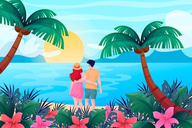 Fond de paysage d'été pour le concept de zoom