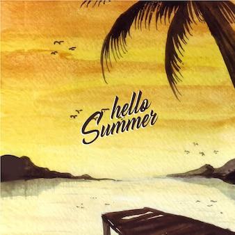 Fond de paysage d'été avec des silhouettes et des effets de couleur claire des illustrations aquarelles.