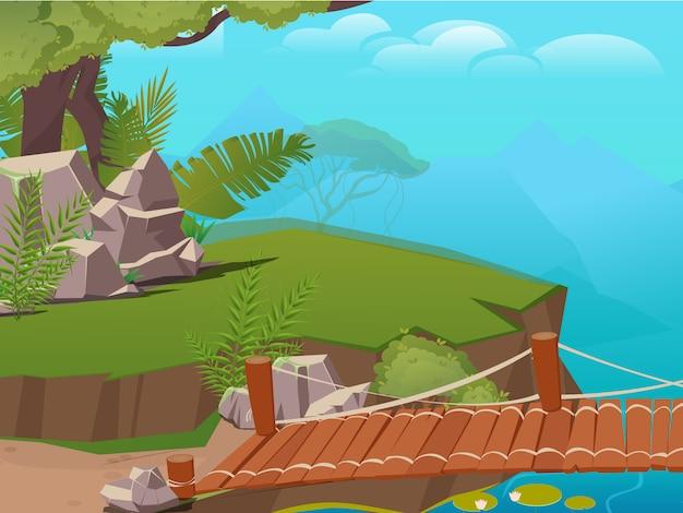 Fond de paysage forestier avec falaise