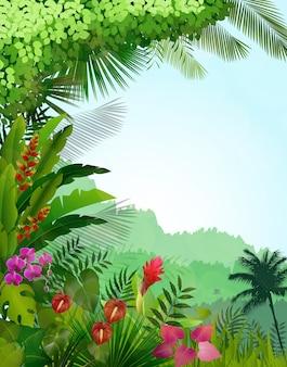 Fond de paysage de forêt tropicale au matin