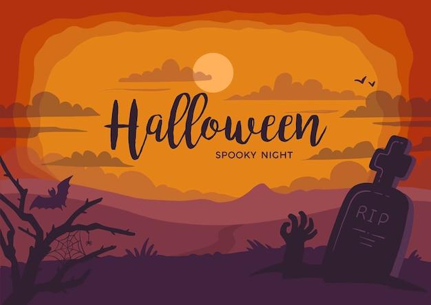 Fond paysage halloween nuit fantasmagorique