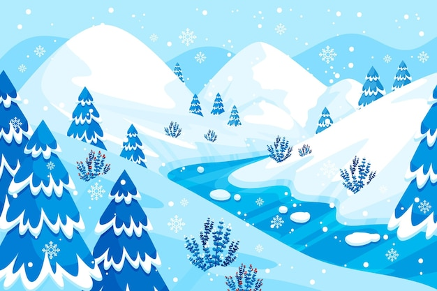 Fond de paysage d'hiver design plat