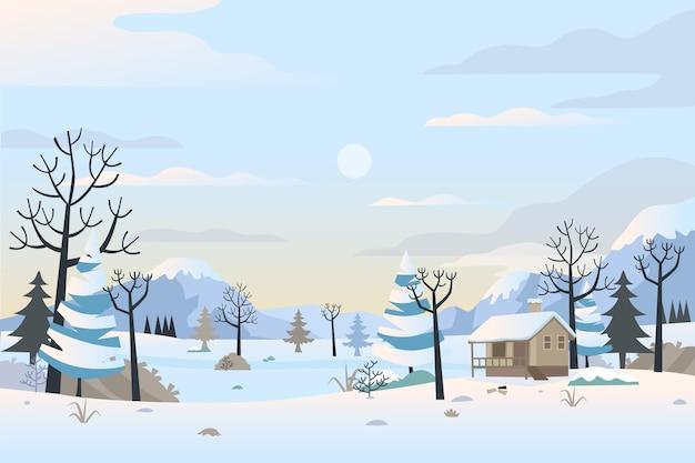 Fond De Paysage D'hiver Dessiné à La Main Vecteur Premium
