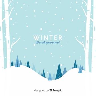 Fond de paysage d'hiver enneigé