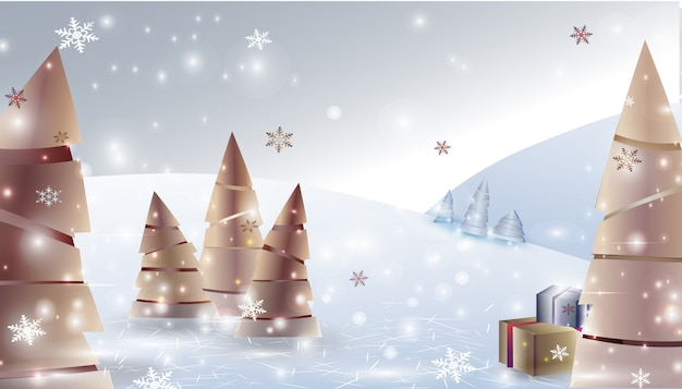 Fond de paysage hiver noël avec des arbres de noël, des cadeaux, des flocons de neige