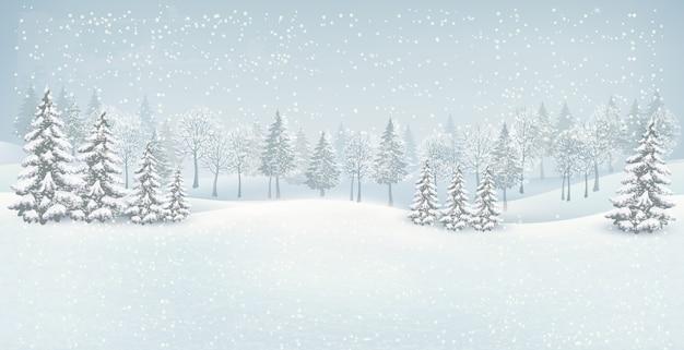 Fond de paysage d'hiver de noël