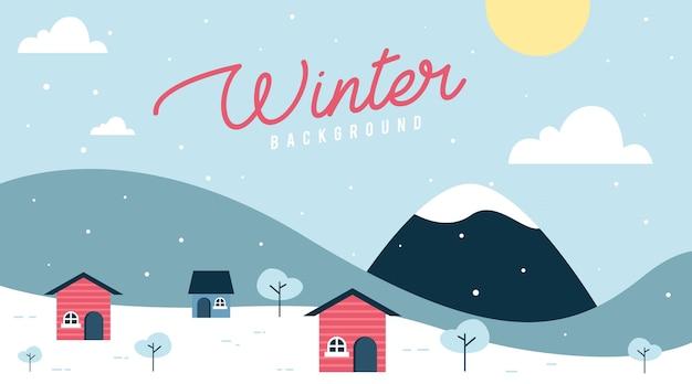 Fond De Paysage D'hiver Plat Vecteur Premium
