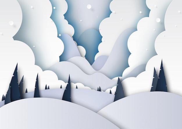 Fond de paysage hiver saison et montagnes