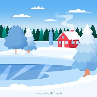 Fond de paysage d'hiver