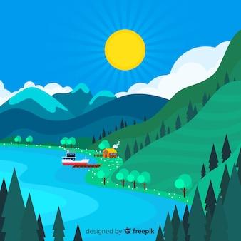 Fond de paysage de lac de printemps