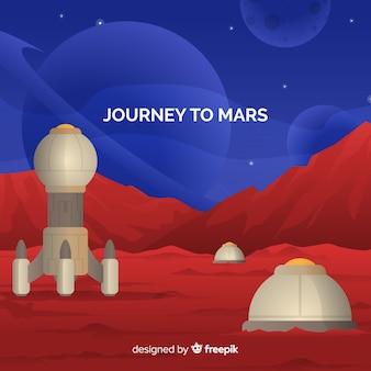 Fond de paysage de mars avec design plat