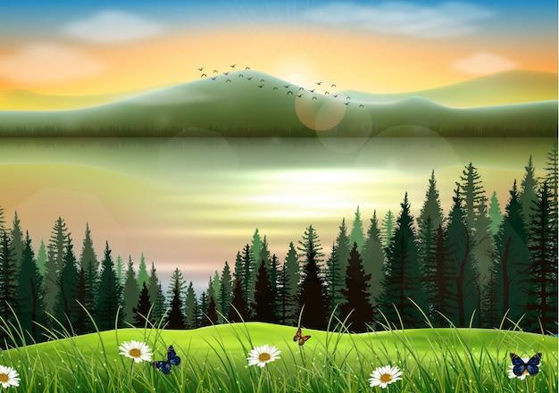 Fond de paysage de montagne avec lac au coucher du soleil