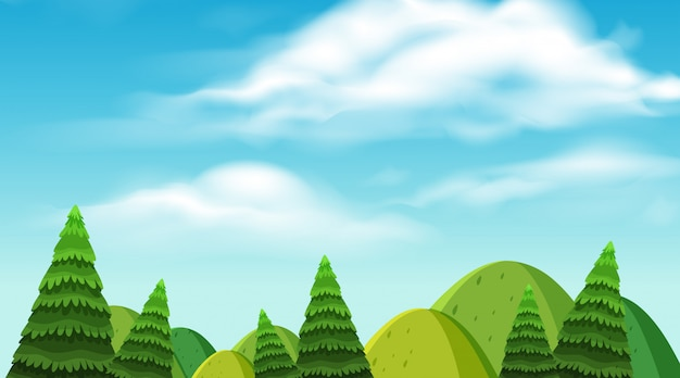 Fond de paysage de montagnes et d'arbres