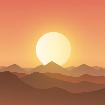 Fond de paysage montagneux magnifique au coucher du soleil