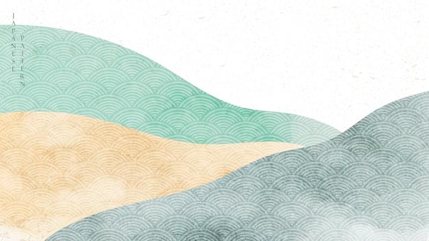 Fond de paysage naturel avec motif japonais. modèle de forêt de montagne avec texture aquarelle.