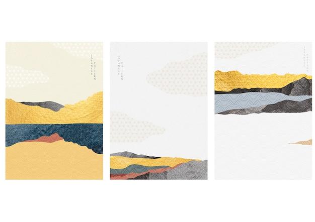 Fond de paysage naturel avec motif de vagues japonaises. modèle de forêt de montagne avec texture or.
