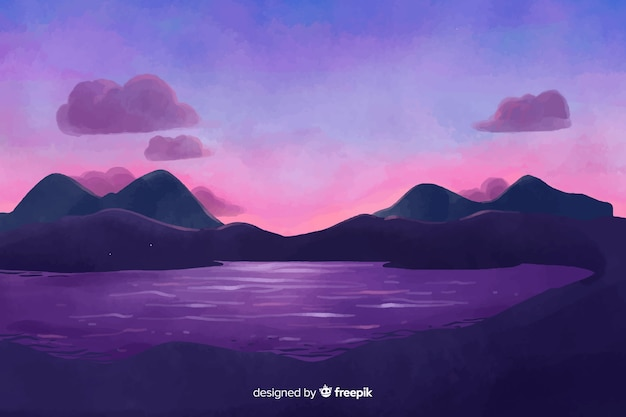 Fond de paysage naturel de style aquarelle