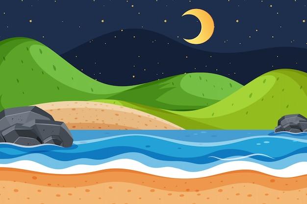 Fond de paysage avec océan et ciel sombre