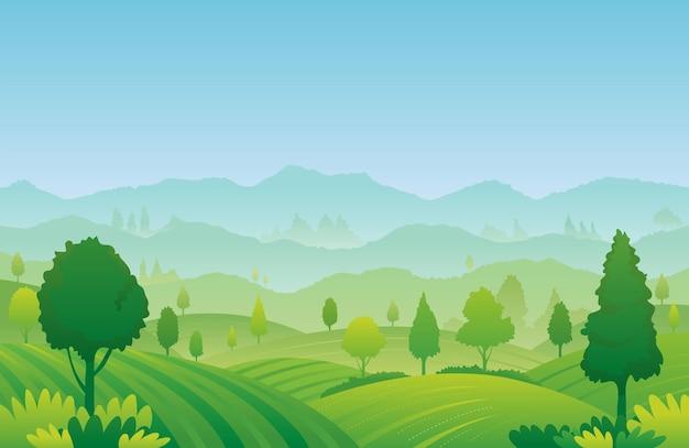 Fond de paysage de paysage de ferme et de montagne