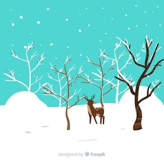 Fond de paysage plat hiver