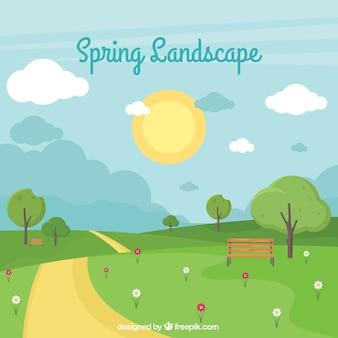 Fond de paysage de printemps dans un style plat