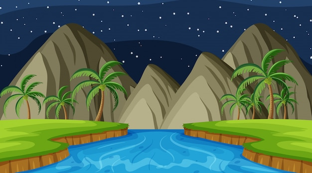 Fond de paysage de rivière et de montagnes pendant la nuit