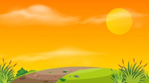 Fond de paysage de route vide au coucher du soleil