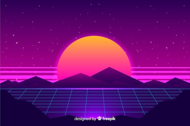 Fond de paysage de science-fiction futuriste rétro, couleur pourpre