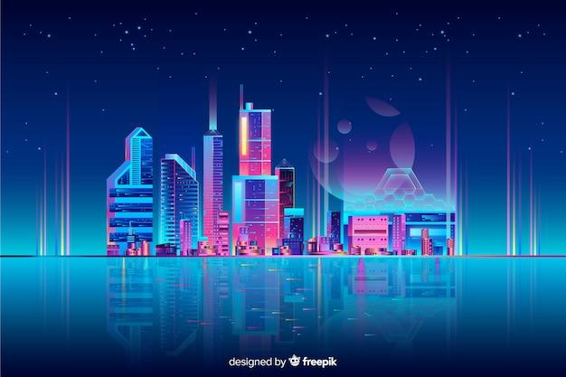 Fond de paysage urbain de néon