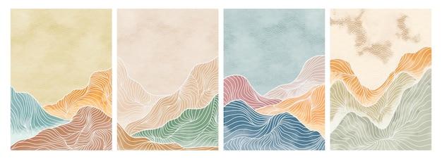 Fond de paysage avec vecteur de motif d'art en ligne. modèle de montagne abstrait avec motif géométrique