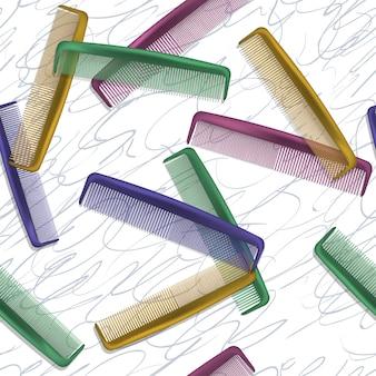 Fond avec des peignes colorés pour les coiffeurs et les salons de beauté