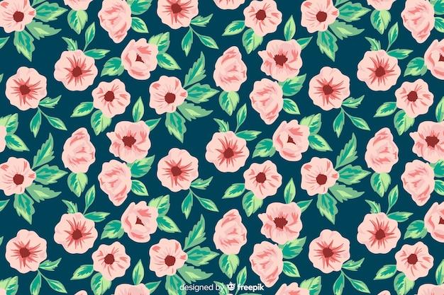 Fond Peint à La Main Avec Des Fleurs Roses Vecteur gratuit