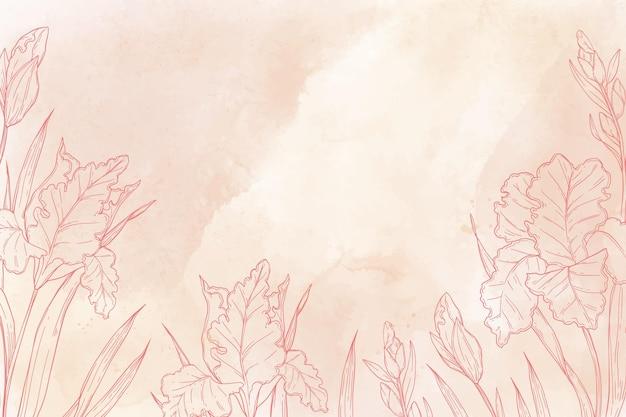Fond peint à la main monochromatique avec des éléments de la nature dessinés