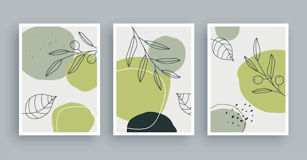 Fond de peinture d'art mural botanique art de feuillage et ligne dessinée à la main avec une forme abstraite