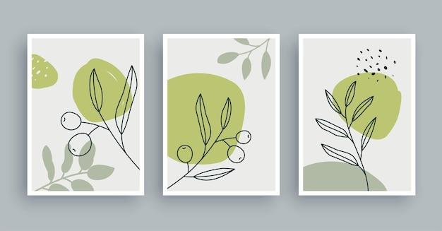 Fond de peinture d'art mural botanique de branche d'olivier. art du feuillage et ligne dessinée à la main avec une forme abstraite. style nordique scandinave du milieu du siècle.