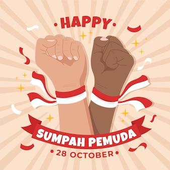 Fond de pemuda sumpah dessiné à la main