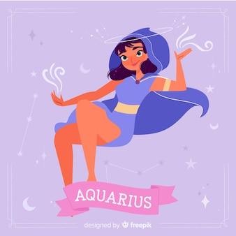 Fond de personnages du zodiaque dessinés à la main