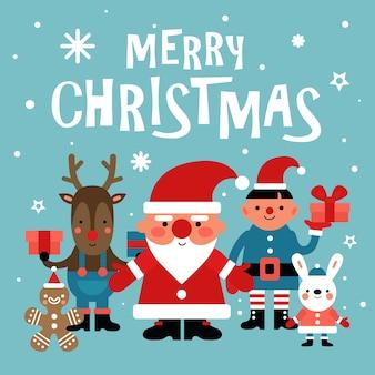 Fond de personnages de noël. père noël, bonhomme en pain d'épice et lapin blanc et elfe, cerf avec cadeau. carte de vecteur de fête du nouvel an 2020