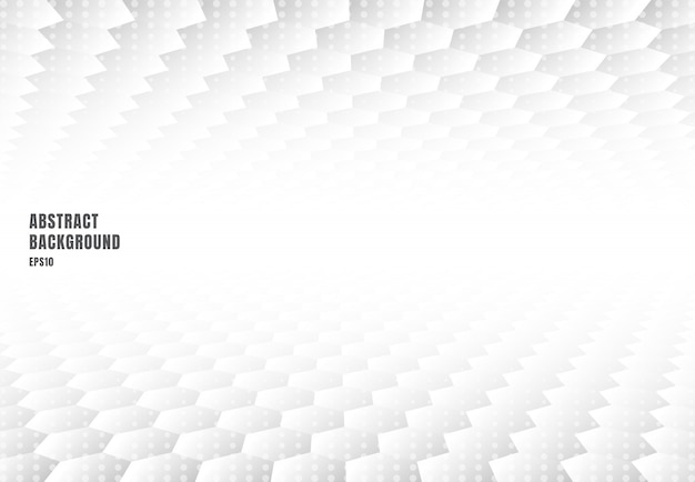 Fond de perspective abstrait hexagones blancs