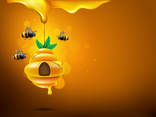 Fond de petites abeilles volant sur nid d'abeille
